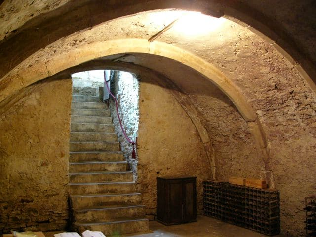 Stairs leading into one of the best-preserved cellars